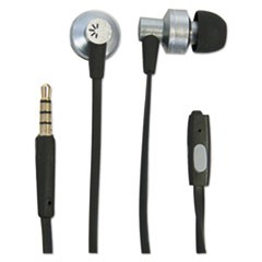 400 Series Earbuds, 4 ft Cord, Black/Silver