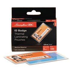 UltraClear Thermal Laminating Pouches, ID Badge, 5mil, 2 5/8 x 3 7/8, 100/Pack