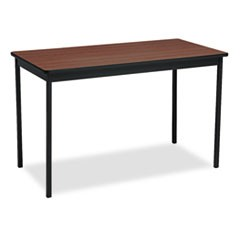 Utility Table, Rectangular, 48w x 24d x 30h, Walnut/Black
