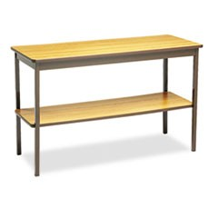Utility Table with Bottom Shelf, Rectangular, 48w x 18d x 30h, Oak/Brown
