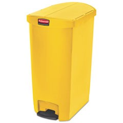 Slim Jim Resin Step-On Container, End Step Style, 18 gal, Yellow