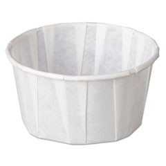 Squat Paper Portion Cup, Pleated, 4 oz, White, 5000/Carton