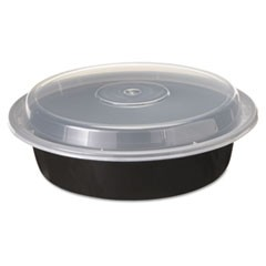 "VERSAtainers, 1-Comp, Black/Clear, 24oz, 7""dia, 150/Carton"