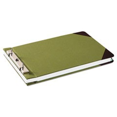 "Canvas Sectional Storage Post Binder, 2 Posts, 3"" Capacity, 8.5 x 14, Green"