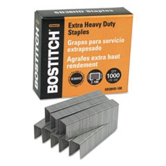 "1Heavy-Duty Premium Staples, 0.88"" Leg, 0.5"" Crown, Steel, 1,000/Box"
