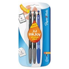 InkJoy 100 Stick Stylus Ballpoint Pens, 1.0 mm, Black; Blue, 3/Pack