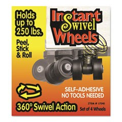 Roll-Arounds Instant Swivel Wheels, Self-Adhesive, Black, 4/Set