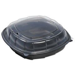 Breakaway Hinged Poly Food Containers, Black/Clear, 64.2oz, 10x10x2.5,148/Crtn