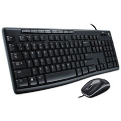 MK200 Media Combo, Keyboard/Mouse, Wired, USB, Black
