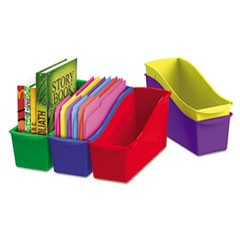 Interlocking Book Bins, 4 3/4 x 12 5/8 x 7, 5 Color Set, Plastic