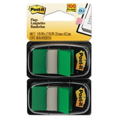 Standard Page Flags in Dispenser, Green, 100 Flags/Dispenser