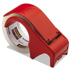 "Compact and Quick Loading Dispenser for Box Sealing Tape, 3"" Core, Plastic, Red"