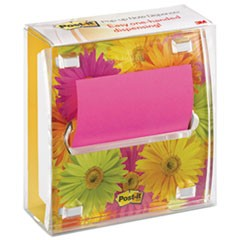 Clear Top Pop-up Note Dispenser, Daisy Insert, 3 x 3 Fuschia/Canary Pad, Black