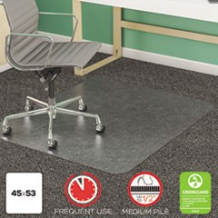 SuperMat Frequent Use Chair Mat, Med Pile Carpet, 45 x 53, Beveled Rectangle, Clear