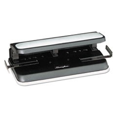 "32-Sheet Easy Touch Three- to Seven-Hole Punch, 9/32"" Holes, Black/Gray"