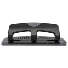 "20-Sheet SmartTouch Three-Hole Punch, 9/32"" Holes, Black/Gray"