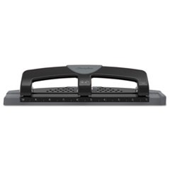 "12-Sheet SmartTouch Three-Hole Punch, 9/32"" Holes, Black/Gray"