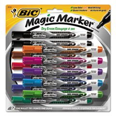 Low Odor & Bold Writing Pen Style Dry Erase Marker, Bullet Tip, Assorted, 12/PK