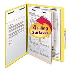Top Tab Classification Folder, One Divider, Four-Section, Letter, Yellow, 10/Box