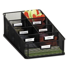 Onyx Breakroom Organizers, 7 Compartments, 16 x8 1/2x5 1/4, Steel Mesh, Black