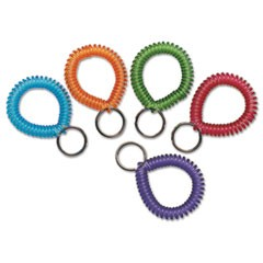 Wrist Coil with Key Ring, Assorted, 10/Box