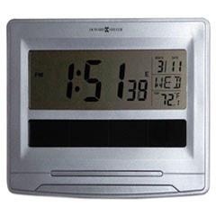 Solar Tech Desk/Wall Clock, 8 1/2 x 7 1/2, Satin Silver