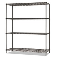 All-Purpose Wire Shelving Starter Kit, 4-Shelf, 60 x 18 x 72, Black Anthracite+