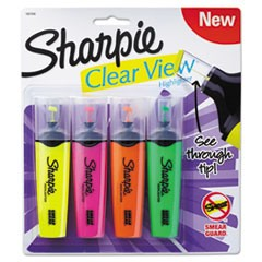 Clearview Highlighter, Blade Tip, Assorted Ink, 4 per Set