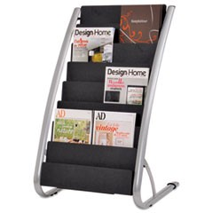 Literature Floor Rack, 16 Pocket, 23w x 19.67d x 36.67h, Silver Gray/Black