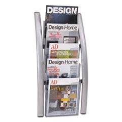 Wall Literature Display, 13w x 3 1/2d x 28 1/2h, Silver Gray/Transluscent