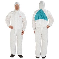 Disposable Protective Coveralls, White, Large, 6/Pack