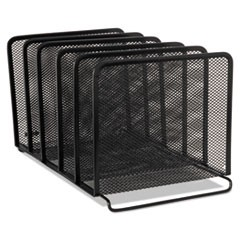 Mesh Stacking Sorter, Five Sections, Metal, 8 1/4 x 14 3/8 x 7 7/8, Black