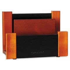 Desktop Sorter, Wood/Faux Leather, 6 5/8 x 3 2/3 x 4 3/4, Black/Mahogany