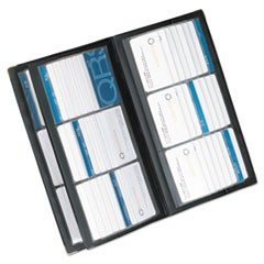 Vinyl Business Card Book, 6 2 1/4 x 3 3/5 Cards/Page, 32 Pages, Black/Silver