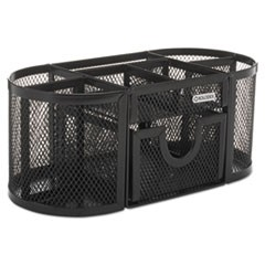 Mesh Pencil Cup Organizer, Four Compartments, Steel, 9 1/3 x 4 1/2 x 4, Black