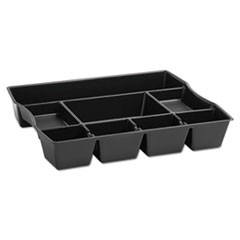 1Nine-Compartment Deep Drawer Organizer, Plastic, 14 7/8 x 11 7/8 x 2 1/2, Black