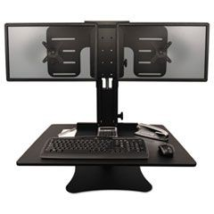 High Rise Collection Dual Monitor Sit-Stand Desk Converter, 28 x 23 x 15.5, Blk