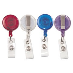 "Translucent Retractable ID Card Reel, 34"" Extension, Assorted Colors, 4/Pack"