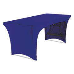 "1Stretch-Fabric Table Cover, Polyester/Spandex, 30"" x 72"", Blue"