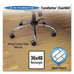 Wood-Look Chair Mat for Hard Floors, 36 x 48, Natural