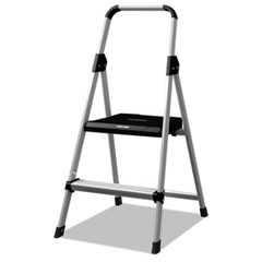 Aluminum Step Stool Ladder, 2-Step, 225 lb Capacity, 18.5w x 23.5 spread x 38.5h, Silver