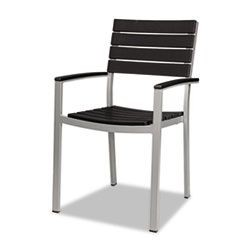 Tiki Stacking Arm Chair, 22w x 22d x 35h, Black/Silver, 2/Carton