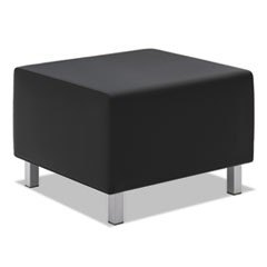 VL860 Series Leather Ottoman, 25w x 25d x 18h, Black/Silver