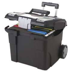 Premium File Cart, 15w x 16 3/8d x 14 1/4 to 30h, Black