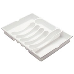 "Expandable Cutlery Tray, White, 12 1/2"" - 21"" Wide, Plastic"