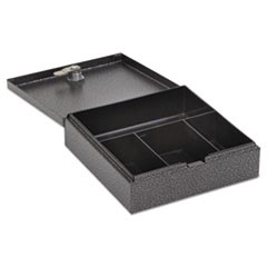 "Hercules Cash Box, Keylock, Coin and Cash, 6 3/4"" x 6 7/8""x 2"", Charcoal Gray"