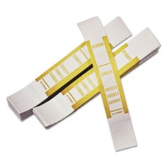 Self-Adhesive Currency Straps, Mustard, $10,000 in $100 Bills, 1000 Bands/Pack