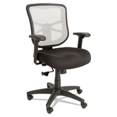 Alera Elusion Series Mesh Mid-Back Swivel/Tilt Chair, Supports up to 275 lbs., Black Seat/White Back, Black Base