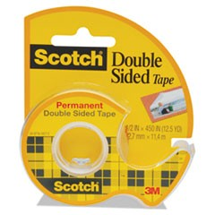 "Double-Sided Permanent Tape in Handheld Dispenser, 1"" Core, 0.5"" x 37.5 ft, Clear"