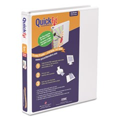 "QuickFit D-Ring View Binder, 1"" Capacity, 8 1/2 x 11, White"